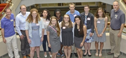 Pictured, from left to right, are: back row – Paul Pickhardt, Jered McGivern, Suzette Rosas, Dorah Owango, Chad Larson, Charlotte Andreason, Gwen Schad and Greg Smith; front row – Maddy Doll, Brook Bignell, Jamie Gundlach and Brooke Wilder-Corrigan. Andreason and Schad are two of the three Sheboygan North High School students who participated in LURE this summer.